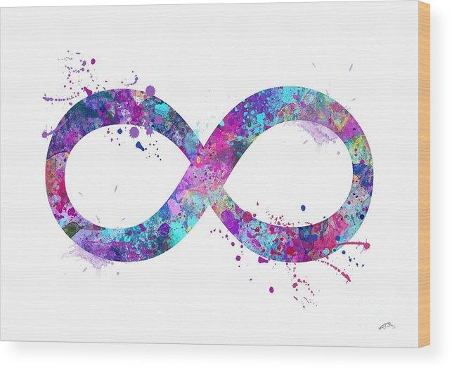 Infinity Symbol 3 Watercolor Print Wood Print By Svetla Tancheva