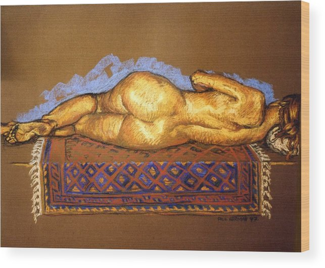 Nude Wood Print featuring the painting Isabel On Afghan Carpet- Back by Paul Herman