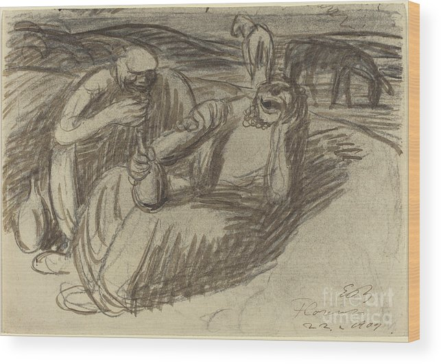 Wood Print featuring the drawing Italian Peasants With Wine Flasks by Ernst Barlach