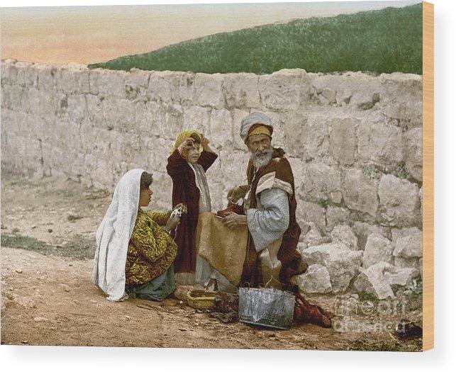 1900 Wood Print featuring the photograph Jerusalem Shoemaker, C1900 by Granger