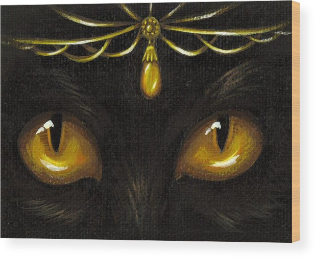 Cat Wood Print featuring the painting Jeweled Kitty Amber by Elaina Wagner