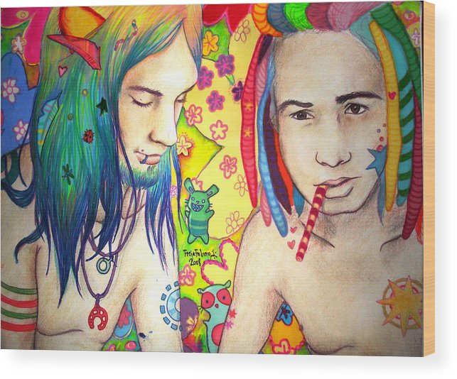 Colours Wood Print featuring the drawing Kamil And Louis by Freja Friborg