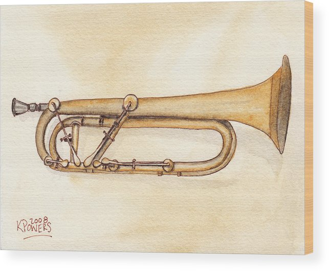 Trumpet Wood Print featuring the painting Keyed Trumpet by Ken Powers