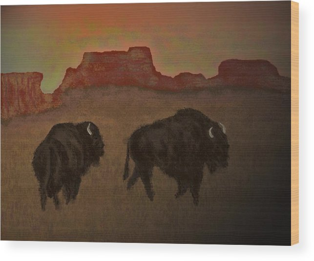 Bison Wood Print featuring the digital art Kings Of The Plain The Ending Of An Era by Carole Boyd