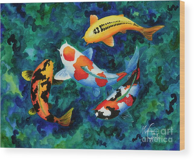 Koi Wood Print featuring the painting Koi Group by Corrado Ghioldi