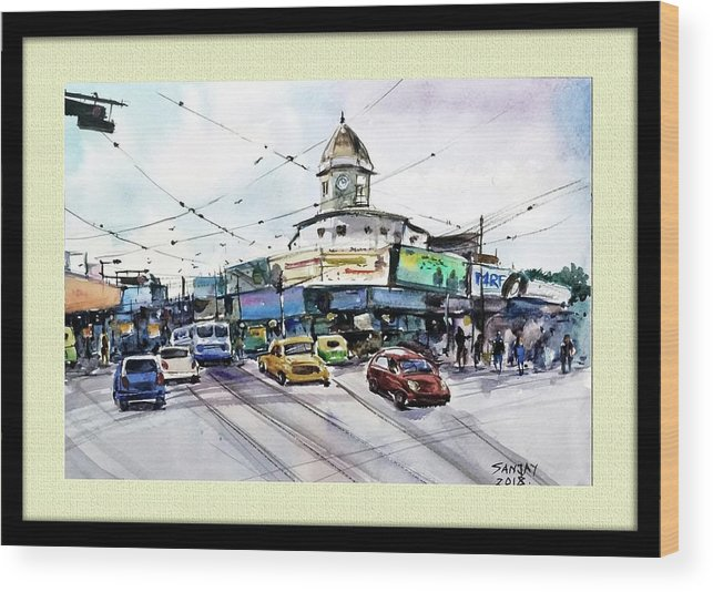 Cityscape Wood Print featuring the painting Kolkata Street by Sanjay Das