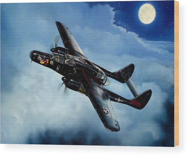 Military Wood Print featuring the painting Lady In The Dark by Marc Stewart