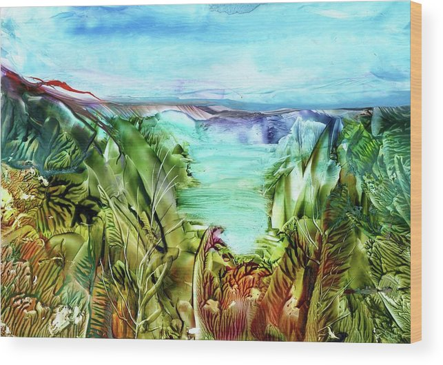 Sea Wood Print featuring the painting Land Sea And Sky by Angelina Whittaker Cook
