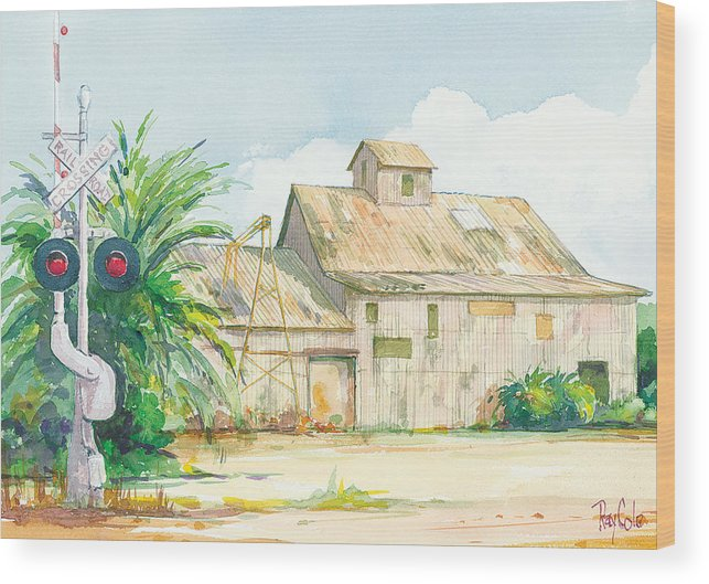 Historic Structure Near Train Crossing Wood Print featuring the painting Lima Bean Plant 2 by Ray Cole