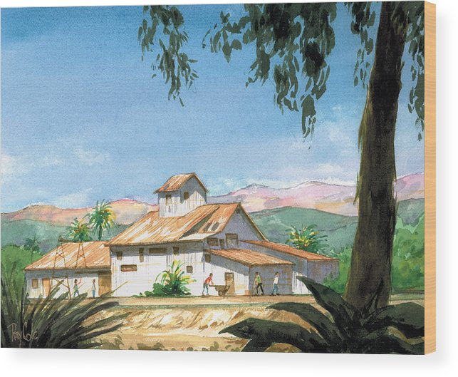 Landmark In Carpinteria Wood Print featuring the painting Lima Bean Plant by Ray Cole
