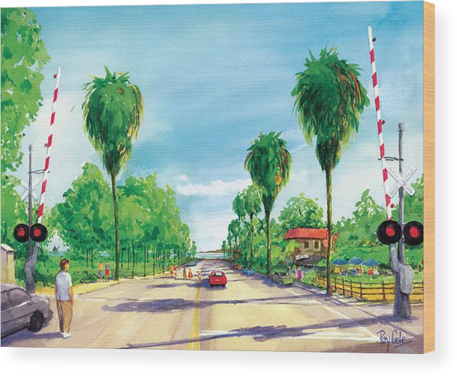 Linden Avenue Wood Print featuring the painting Linden To The Beach by Ray Cole