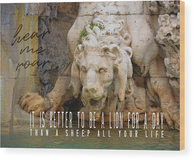 Rome Wood Print featuring the photograph Lion In The Fountain Quote by JAMART Photography