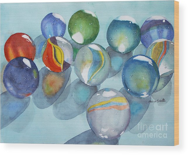 Still Life Wood Print featuring the painting Lose Your Marbles 2 by Marisa Gabetta
