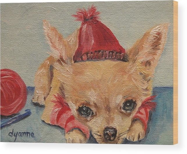 Puppy Wood Print featuring the painting Made By Mom by Dyanne Parker