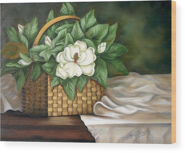 Flower Wood Print featuring the painting Magnolia Basket by Ruth Bares