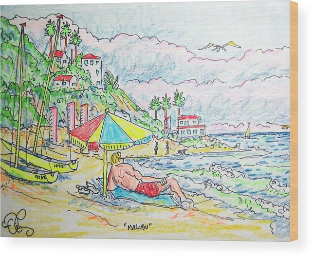 Beach Wood Print featuring the painting Malibu by Robert Findley