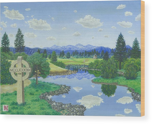 Landscape Wood Print featuring the painting Many Miles Away by Bill Perkins