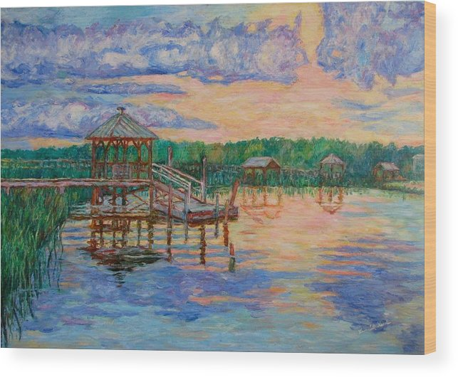 Landscape Wood Print featuring the painting Marsh View At Pawleys Island by Kendall Kessler