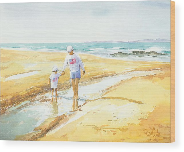 Grandma And Grandaughter Walking Wood Print featuring the painting Mary And Sophia by Ray Cole