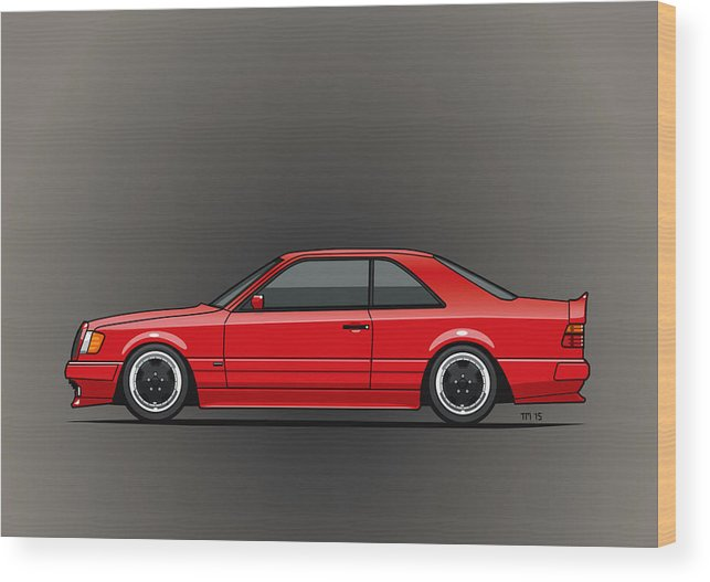 Mercedes W124 300e Red Amg Hammer Widebody Coupe Wood Print