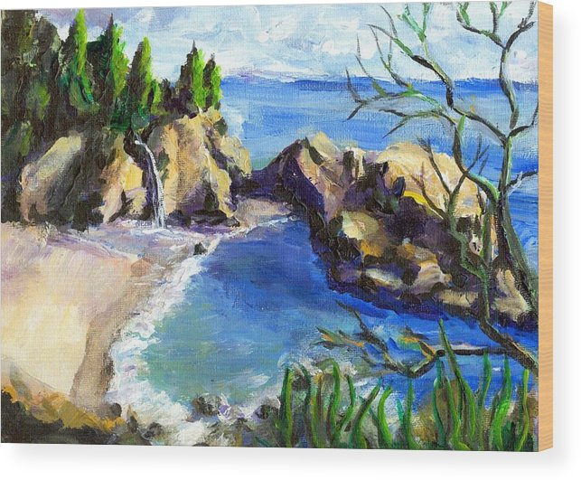Waterfall Wood Print featuring the painting Mikes Beach by Randy Sprout