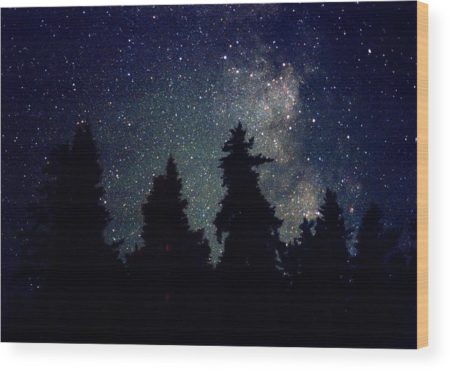 Milky Way Wood Print featuring the photograph Milky Way Above Northern Forest 22 by Lyle Crump