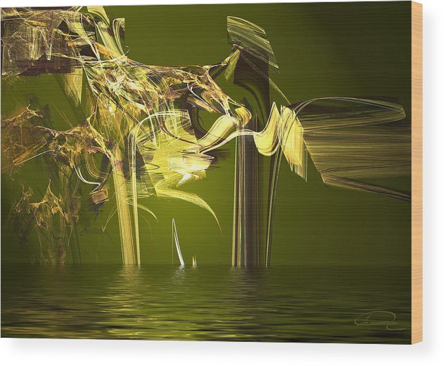 Abstract Wood Print featuring the painting Miracle In The Forest by Emma Alvarez