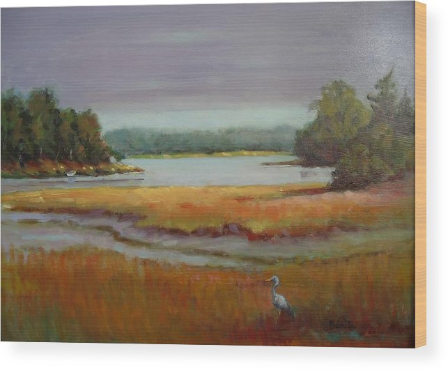 Maine Wood Print featuring the painting Morning In The Salt Marsh by Bonita Waitl