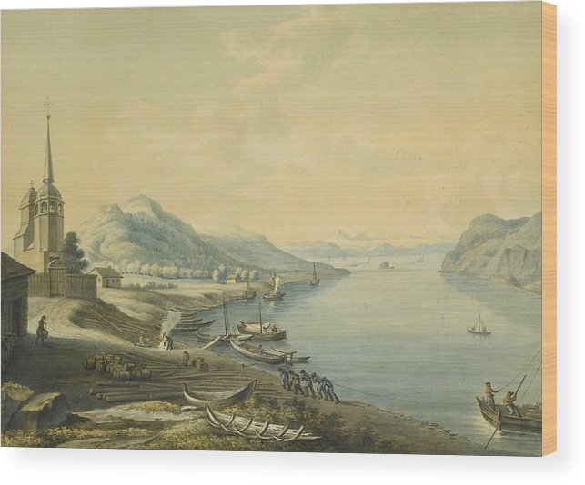 Attributed To Andrey Yefimovich Martynov (st. Petersburg 1768 - Rome 1826) The Port Of Nikola At The Mouth Of The River Angara & View Of Irkutsk 2 Wood Print featuring the painting Mouth Of The River Angara by MotionAge Designs