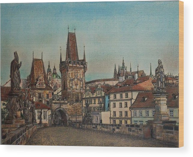 Praha Wood Print featuring the drawing Na Karlovem Moste by Gordana Dokic Segedin
