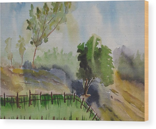 Greenary Wood Print featuring the painting Nature by Rima