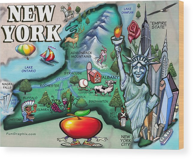 Cartoon Map Of New York City.New York Cartoon Map Wood Print By Kevin Middleton