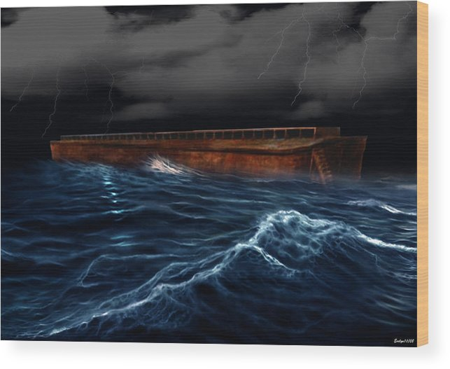 Ship Wood Print featuring the digital art Noah Ark by Evelyn Patrick
