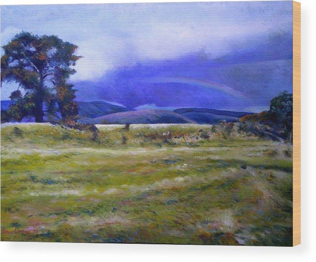 Tasmanian Landscapes Wood Print featuring the painting Northeast Tasmania Australia 1995 by Enver Larney