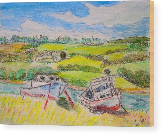 Fishing Boats Wood Print featuring the drawing Nova Scotia Fishing Boats by Lessandra Grimley