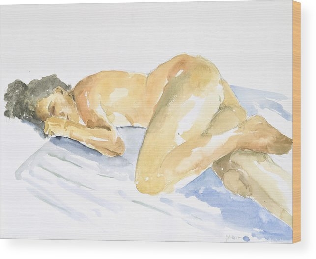 Sleeping Figure Wood Print featuring the painting Nude Serie by Eugenia Picado