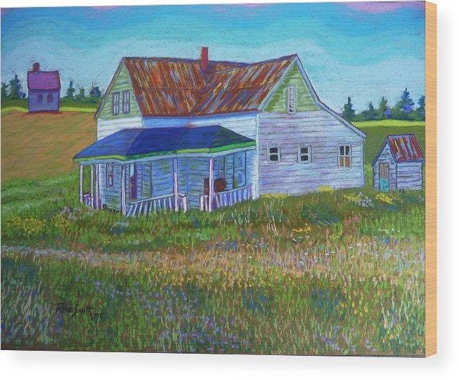 Tinroof Wood Print featuring the pastel Old Tin Roof by Rae Smith