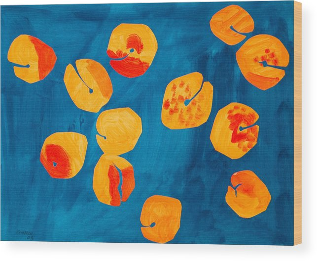 Apricot Wood Print featuring the painting Orange Apricots by Vitali Komarov