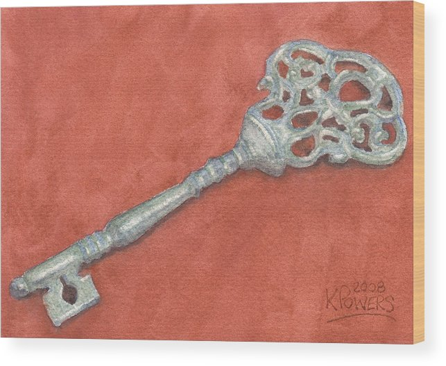 Mansion Wood Print featuring the painting Ornate Mansion Key by Ken Powers