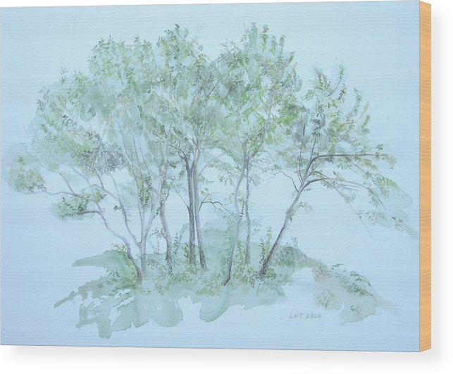 Trees Wood Print featuring the painting Outer Banks by Leah Tomaino