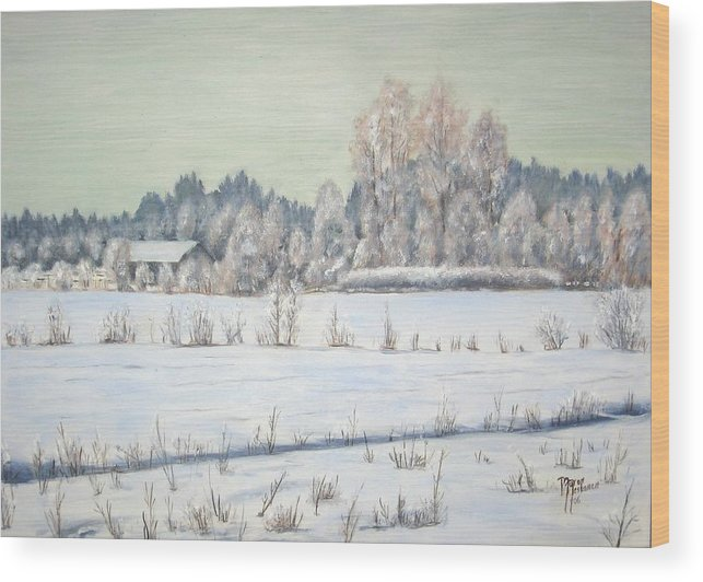 Winter Wood Print featuring the painting Peace Of The Winter by Maren Jeskanen