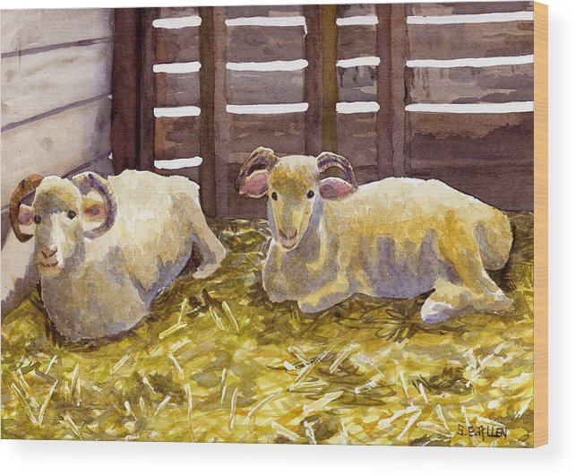 Sheep Wood Print featuring the painting Pen Pals by Sharon E Allen
