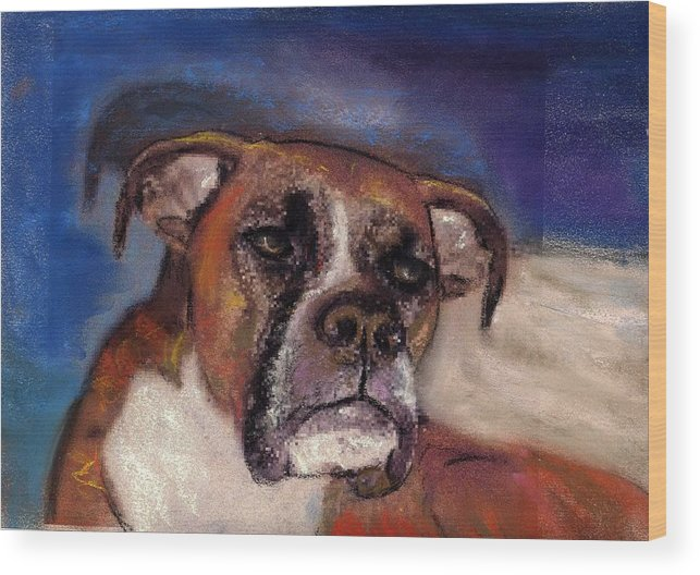Pastel Pet Portraits Wood Print featuring the painting Pet Portraits by Darla Joy Johnson