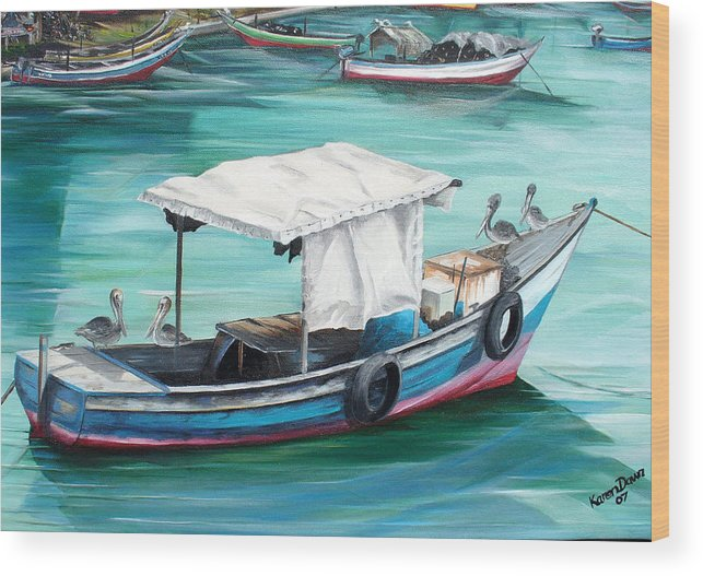 Fishing Boat Painting Seascape Ocean Painting Pelican Painting Boat Painting Caribbean Painting Pirogue Oil Fishing Boat Trinidad And Tobago Wood Print featuring the painting Pirogue Fishing Boat by Karin Dawn Kelshall- Best