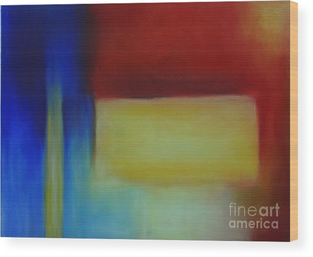 Leilaatkinson Abstract Pastel Red Yellow Blue Composition Wood Print featuring the painting Primary by Leila Atkinson
