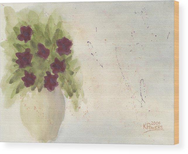 Petunia Wood Print featuring the painting Purple Petunias by Ken Powers