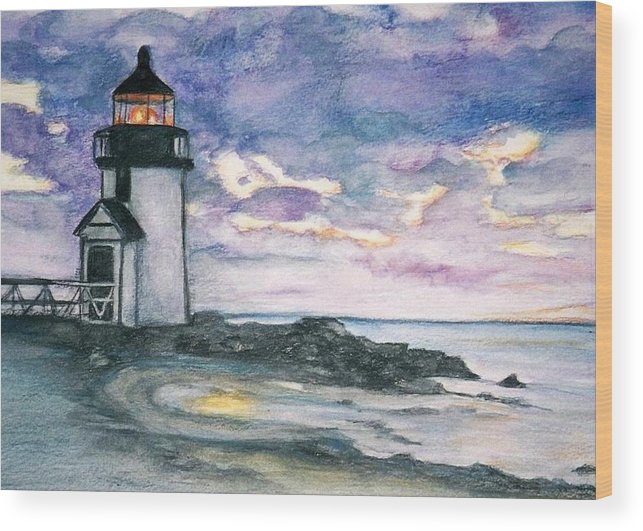 Nantucket Wood Print featuring the painting Purple Skies Over Nantucket by Debra Sandstrom