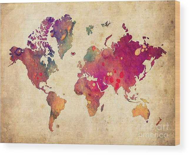 Watercolor World Map Wood Print featuring the digital art Purple World Map Watercolor Print by Svetla Tancheva