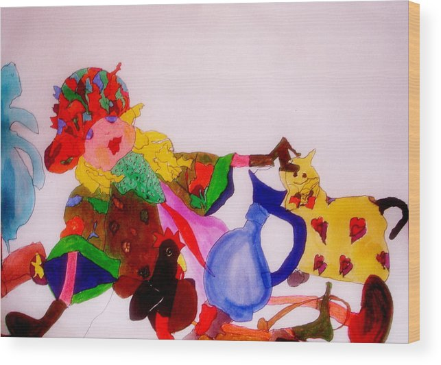 Ragdoll Wood Print featuring the mixed media Ragdoll And Friends by Lessandra Grimley