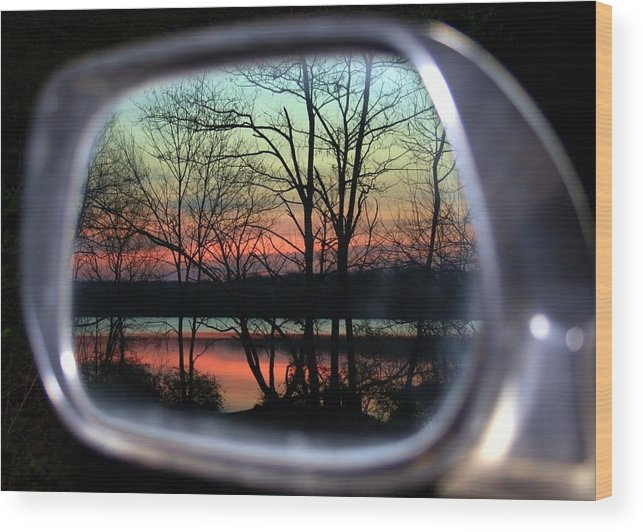 Rearview Mirror Wood Print featuring the photograph Rearview Mirror by Mitch Cat